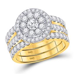 14kt Yellow Gold Round Diamond Bridal Wedding Engagement Ring Band Set 2.00 Cttw
