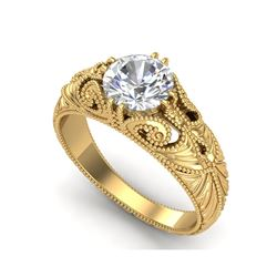 1 ctw VS/SI Diamond Solitaire Art Deco Ring 18K Yellow Gold