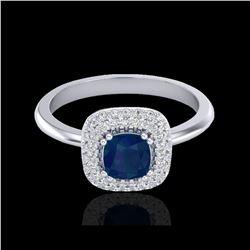 1.16 ctw Sapphire & Micro VS/SI Diamond Ring Halo 18K White Gold