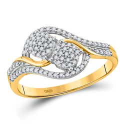 10kt Yellow Gold Round Diamond Double Circle Cluster Ring 1/5 Cttw