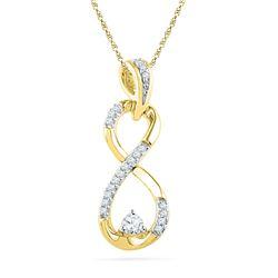 10kt Yellow Gold Round Diamond Vertical Infinity Pendant 1/5 Cttw