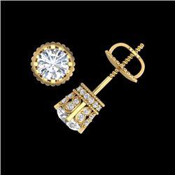 1.75 ctw VS/SI Diamond Solitaire Art Deco Stud Earrings 18K Yellow Gold