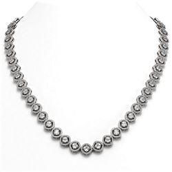 21.69 ctw Cushion Cut Diamond Micro Pave Necklace 18K White Gold