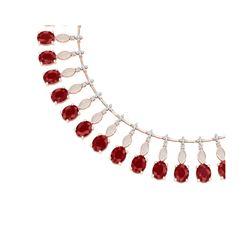 65.62 ctw Ruby & VS Diamond Necklace 18K Rose Gold
