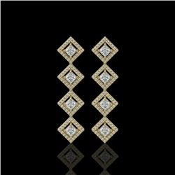 4.01 ctw Princess Cut Diamond Micro Pave Earrings 18K Yellow Gold