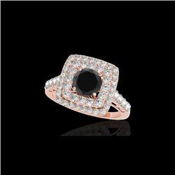 2.3 ctw Certified VS Black Diamond Solitaire Halo Ring 10K Rose Gold