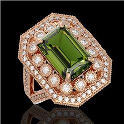 6.08 ctw Certified Tourmaline & Diamond Victorian Ring 14K Rose Gold