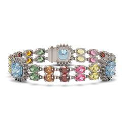 41.17 ctw Sapphire & Diamond Bracelet 14K White Gold