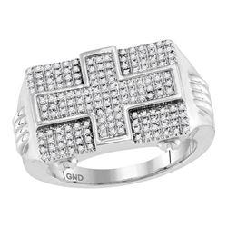 10kt White Gold Mens Round Diamond Rectangle Cross Cluster Ring 5/8 Cttw