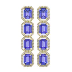 19.39 ctw Tanzanite & Diamond Micro Pave Halo Earrings 10K Yellow Gold