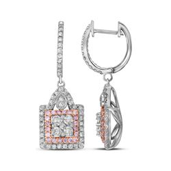 14kt White Gold Round Pink Diamond Square Cluster Dangle Earrings 1.00 Cttw