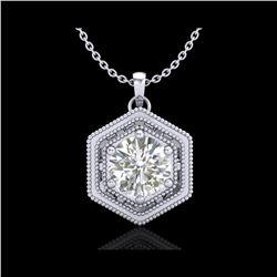 0.76 ctw VS/SI Diamond Solitaire Art Deco Stud Necklace 18K White Gold