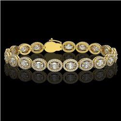 13.25 ctw Oval Cut Diamond Micro Pave Bracelet 18K Yellow Gold