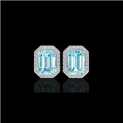 12 ctw Sky Blue Topaz And Micro Pave Diamond Earrings 18K White Gold