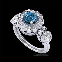 1.5 ctw Intense Blue Diamond Art Deco 3 Stone Ring 18K White Gold