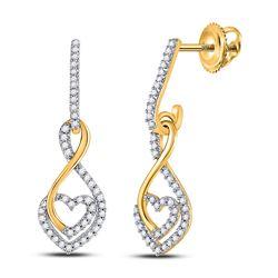 10kt Yellow Gold Round Diamond Heart Dangle Screwback Earrings 1/4 Cttw