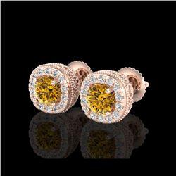 1.69 ctw Intense Fancy Yellow Diamond Art Deco Earrings 18K Rose Gold