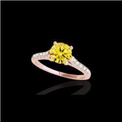 1.45 ctw Certified SI/I Fancy Intense Yellow Diamond Ring 10K Rose Gold
