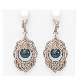 3.52 ctw Diamond and Pearl Earrings 18K Rose Gold