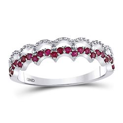 10kt White Gold Round Ruby Scalloped Stackable Band Ring 1/4 Cttw