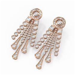 13 ctw Diamond Designer Earrings 18K Rose Gold