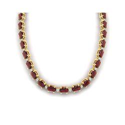 46.5 ctw Garnet & VS/SI Certified Diamond Eternity Necklace 10K Yellow Gold