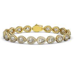 14.28 ctw Pear Cut Diamond Micro Pave Bracelet 18K Yellow Gold