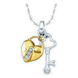 10kt Yellow Two-tone Gold Round Diamond Heart Lock Key Pendant 1/20 Cttw