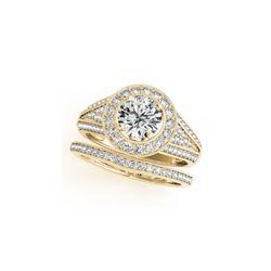 1.6 ctw Certified VS/SI Diamond 2pc Wedding Set Halo 14K Yellow Gold