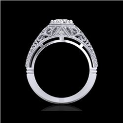 1.07 ctw VS/SI Diamond Art Deco Ring 18K White Gold