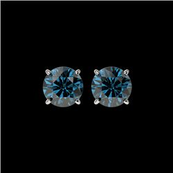2 ctw Certified Intense Blue Diamond Stud Earrings 10K White Gold