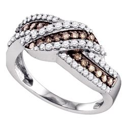 10kt White Gold Round Brown Diamond Crossover Band Ring 3/4 Cttw