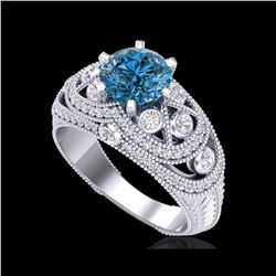 2 ctw Intense Blue Diamond Engagement Art Deco Ring 18K White Gold