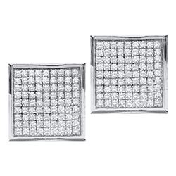 10kt White Gold Round Diamond Square Earrings 1/20 Cttw