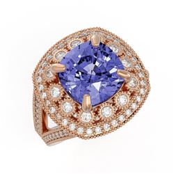 6.72 ctw Certified Tanzanite & Diamond Victorian Ring 14K Rose Gold