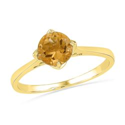 10kt Yellow Gold Round Lab-Created Citrine Solitaire Ring 3/4 Cttw