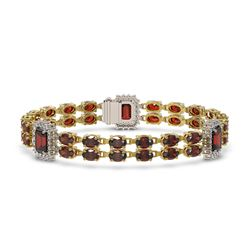 28.86 ctw Garnet & Diamond Bracelet 14K Yellow Gold