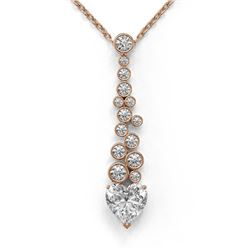1.2 ctw Heart Diamond Designer Necklace 18K Rose Gold