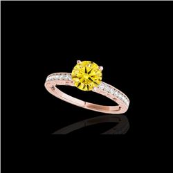 1.43 ctw Certified SI Intense Yellow Diamond Antique Ring 10K Rose Gold