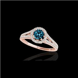 1.3 ctw SI Certified Fancy Blue Diamond Solitaire Halo Ring 10K Rose Gold