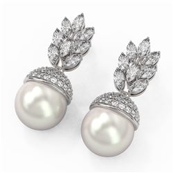 5.78 ctw Marquise Diamond and Pearl Earrings 18K White Gold