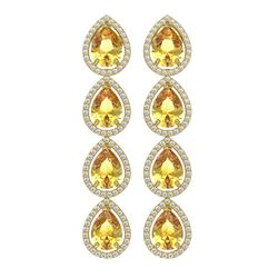 9.2 ctw Fancy Citrine & Diamond Micro Pave Halo Earrings 10K Yellow Gold