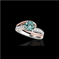 1.25 ctw SI Certified Fancy Blue Diamond Bypass Ring 10K White & Rose Gold