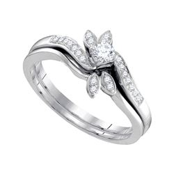 10kt White Gold Round Diamond Leaf Floral Bridal Wedding Engagement Ring Band Set 1/4 Cttw