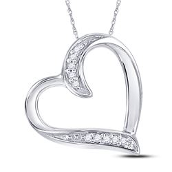 10kt White Gold Round Diamond Heart Outline Pendant .03 Cttw