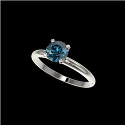 1.03 ctw Certified Intense Blue Diamond Engagement Ring 10K White Gold