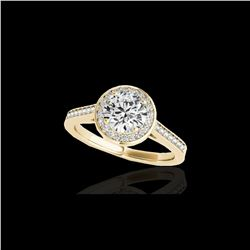 1.93 ctw Certified Diamond Solitaire Halo Ring 10K Yellow Gold
