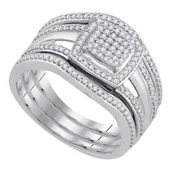 10kt White Gold Round Diamond Square Bridal Wedding Engagement Ring 3-Piece Set 1/3 Cttw