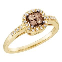 10kt Yellow Gold Princess Brown Diamond Square Cluster Ring 1/4 Cttw