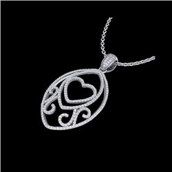 1.75 ctw Micro Pave VS/SI Diamond Heart Necklace 18K White Gold